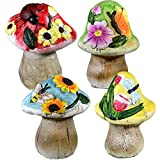 Spring Garden Decorative Mushroom Sculptures, Set of 4