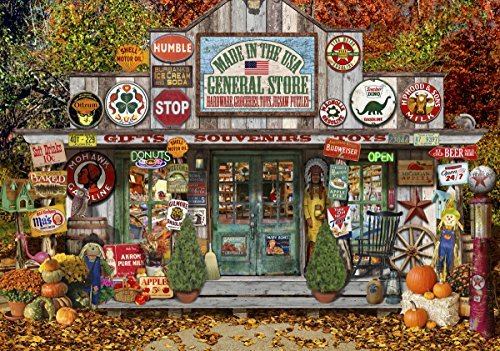 Wentworth General Store 250 Piece Laser Cut Wooden Lewis T Johnson Jigsaw Puzzle with Wood Whimsy Shaped Pieces