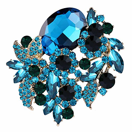 EVER FAITH Rhinestone Crystal Party Flower Leaf Vine Brooch Light Blue Antique-Gold-Tone