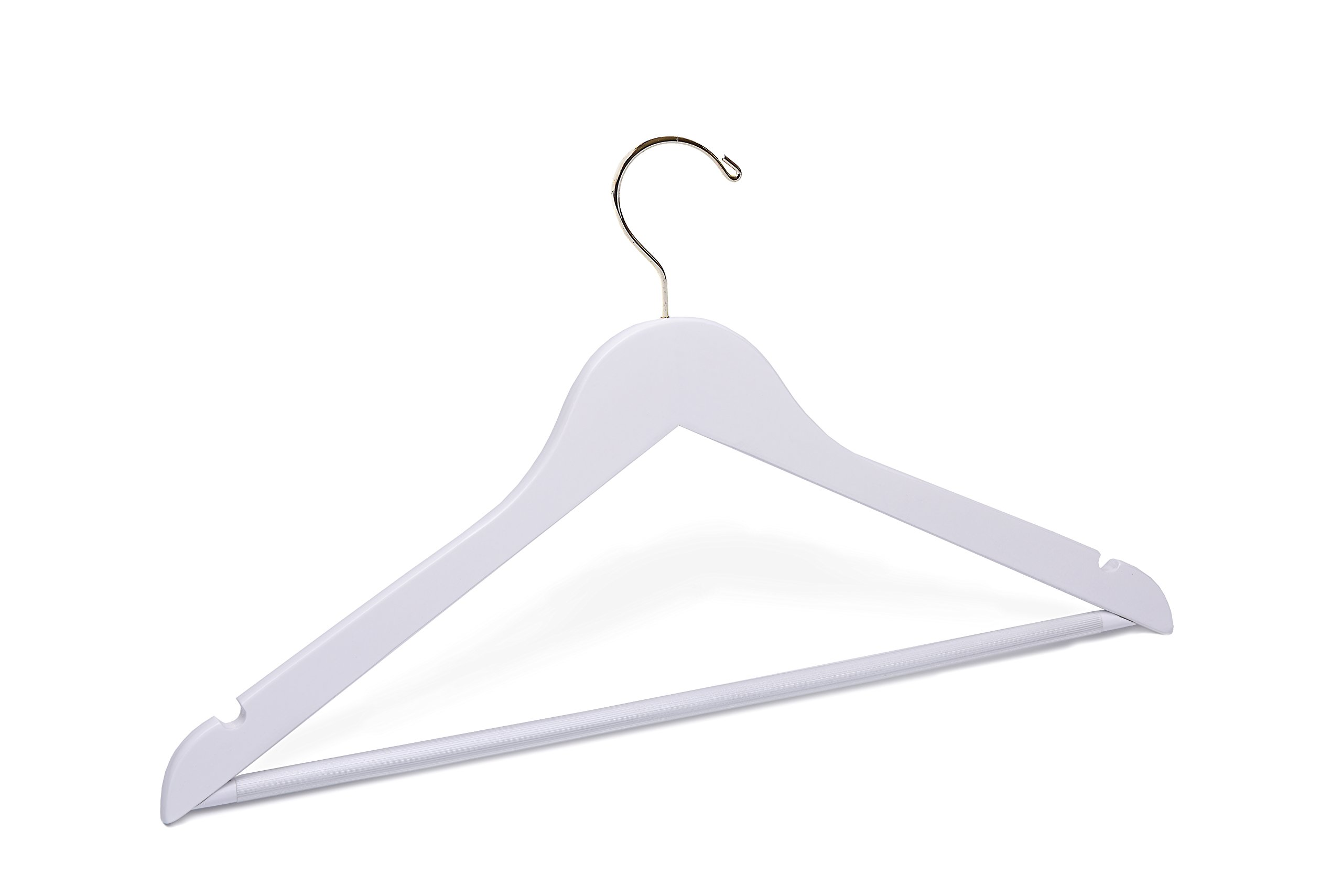 Adult White Suit with Pant Bar Wooden Hanger Gold Hook
