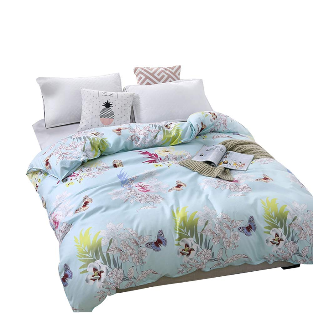 Floral Printed Comforter Cover Butterfly Decor Duvet Cover Full/Queen Size Blue Reversible Bedding Duvet Cover For Adult Teens Kids Simple Elegant Style Bedspread Cover Soft Breathable Quilt Cover by Erosebridal