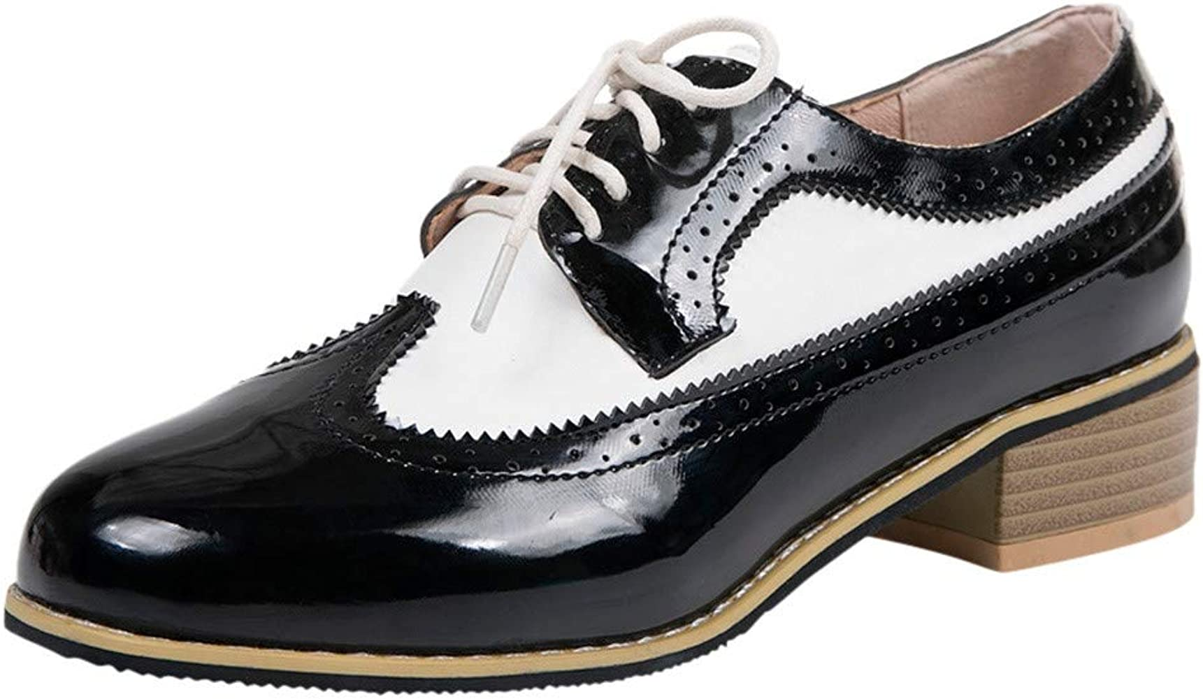 Amazon.com: Oxford Shoes for Women Classic Lace Up Dress Shoes Vintage  Brogue Carved Thick Chunky Heel Elegant Office Shoes: Clothing