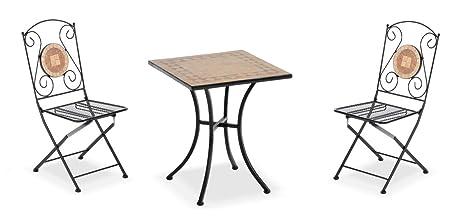 Tavolo Quadrato Con Sedie.Set Tavolo Quadrato E Sedie In Ferro E Mosaico In Ceramica