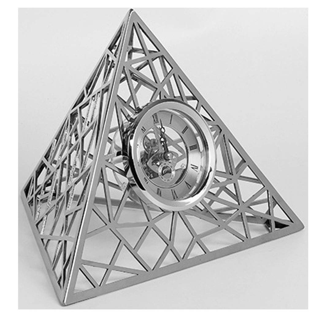 HONGNA New Home Accessories European Simple Modern Triangular Stainless Steel Clock Set Table Soft Decoration Model Room Decoration 8 Inches (Color : Silver, Size : 8 inches) by HONGNA (Image #1)