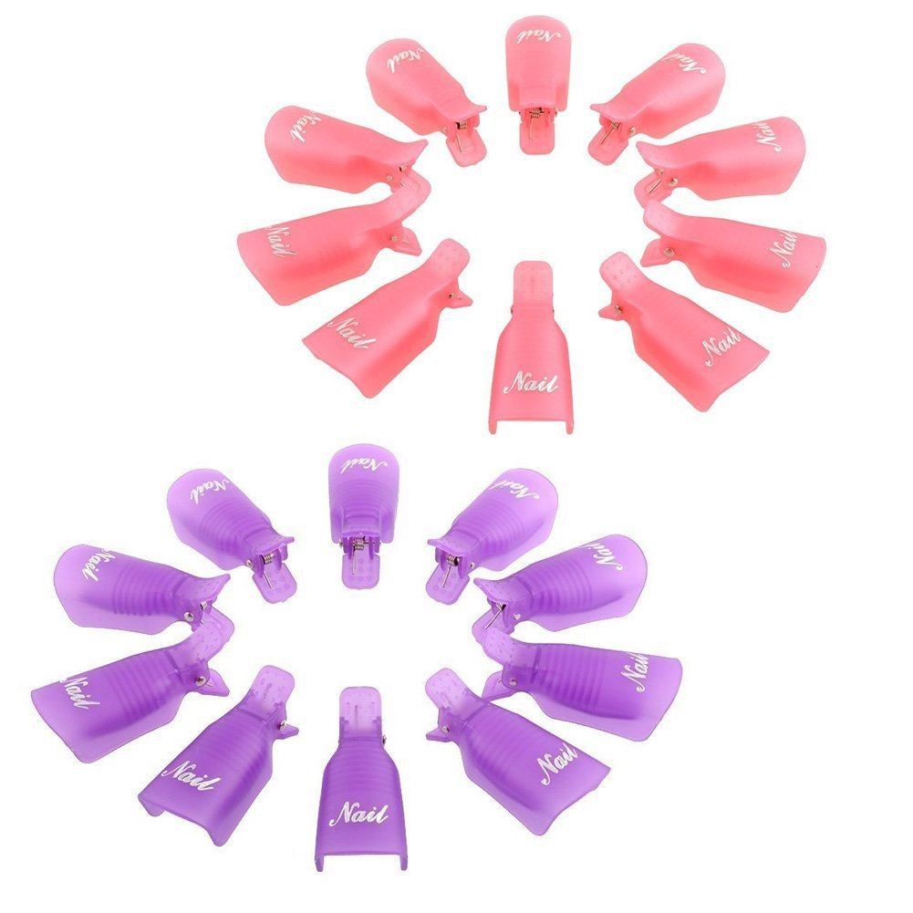 20PC Plastic Nail Art Soak Off Cap Clip UV Gel Polish Remover Wrap Tool by ABASSKY (Image #1)