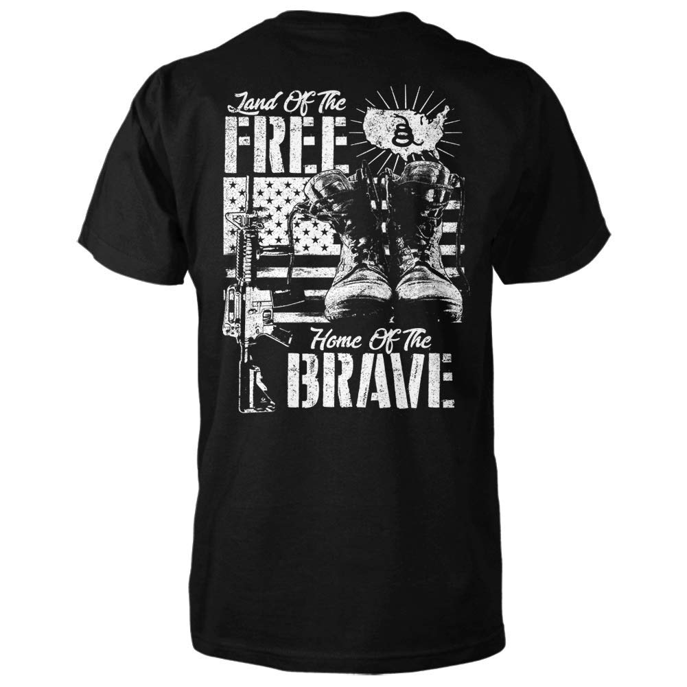 Distressed Back Print Land of The Free Home of The Brave Shirt