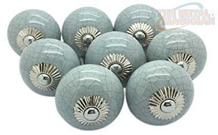 Beau Grey Crackle Round Ceramic Door Knobs Vintage Shabby Chic Cupboard Drawer  Pull Handles By The Metal
