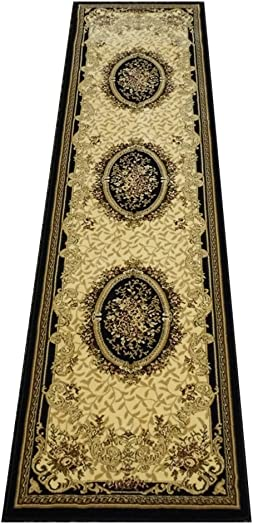Traditional Area Rug Runner Persian Style Design Elegance 209 Black 26 Inch X 7 Feet 5 Inch