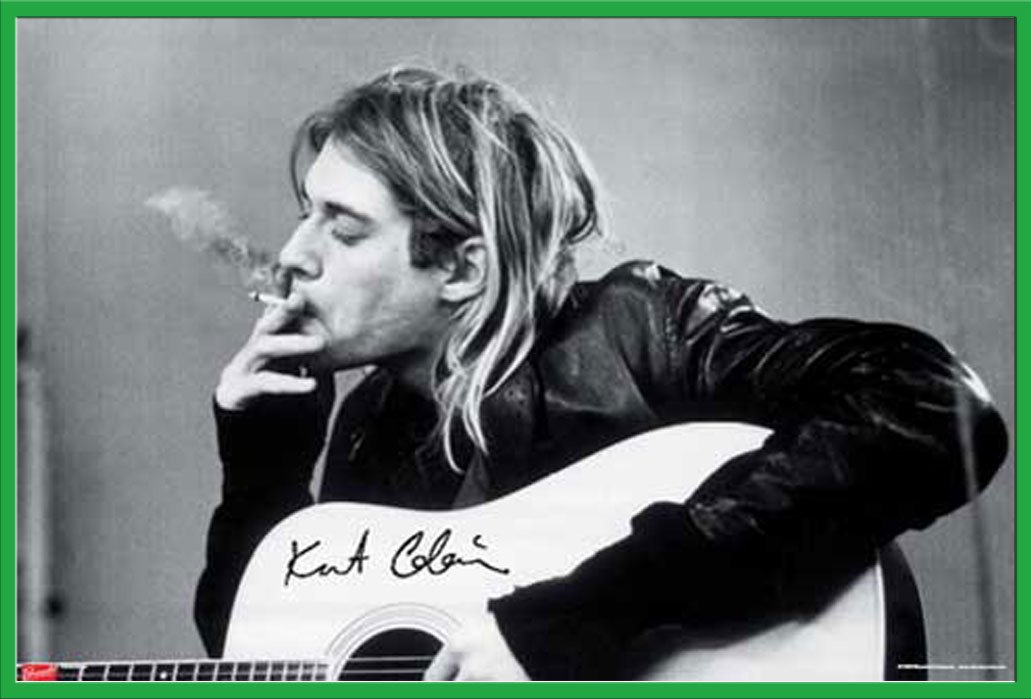 Cobain, Kurt - - - Smoking - Musikposter Kurt Cobain Alternative - Grösse 91,5x61 cm + Wechselrahmen, Shinsuke® Maxi Aluminium schwarz e44dc8