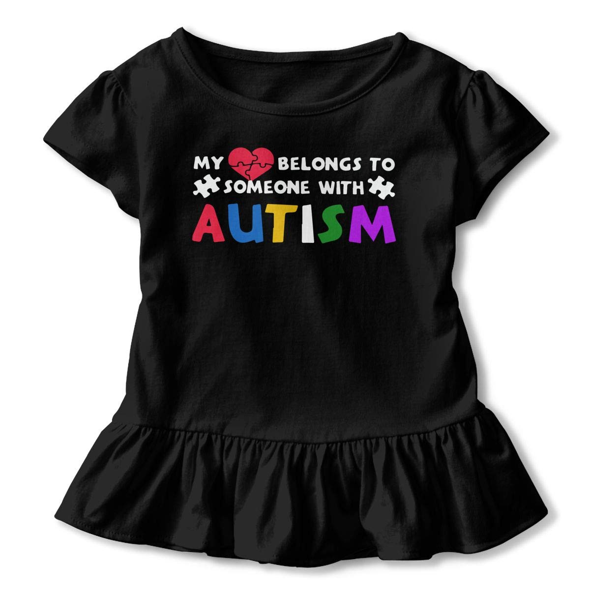 Toddler Baby Girl My Heart Belongs To Someone With Autism 100/% Cotton T Shirts Short Sleeve Ruffle Tee Basic Tops