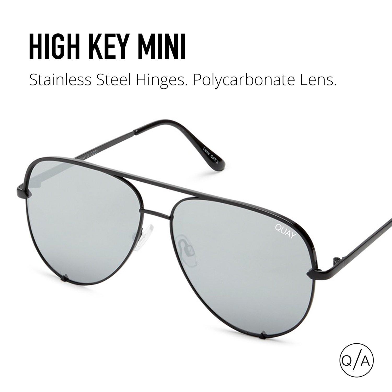 Quay Australia HIGH KEY MINI Men's and Women's Sunglasses Aviator Sunnies - Black/Silver by Quay Australia (Image #7)