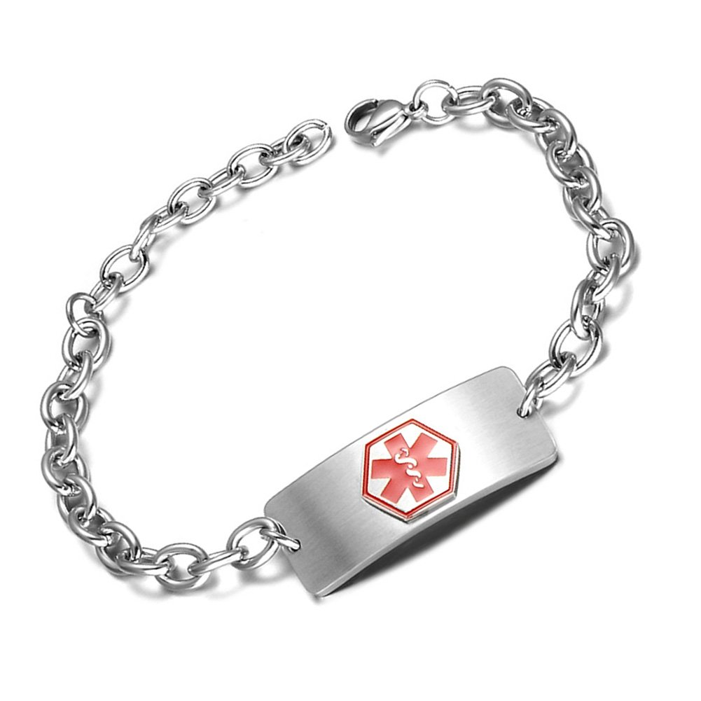 BBX JEWELRY Stainless Steel Medical Alert ID Bracelet for Women Blood Thinner Free Engraving
