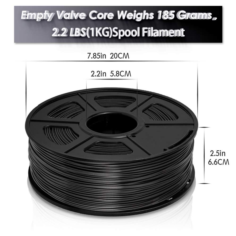 1KG 1.75mm PLA Filament 3D Printing Filament Low Odor Dimensional Accuracy +//- 0.02 mm 2.2 LBS Spool Black+Black 2KG spools Black+Black PLA+ SUNLU 3D Printer Filament PLA+ 2KG