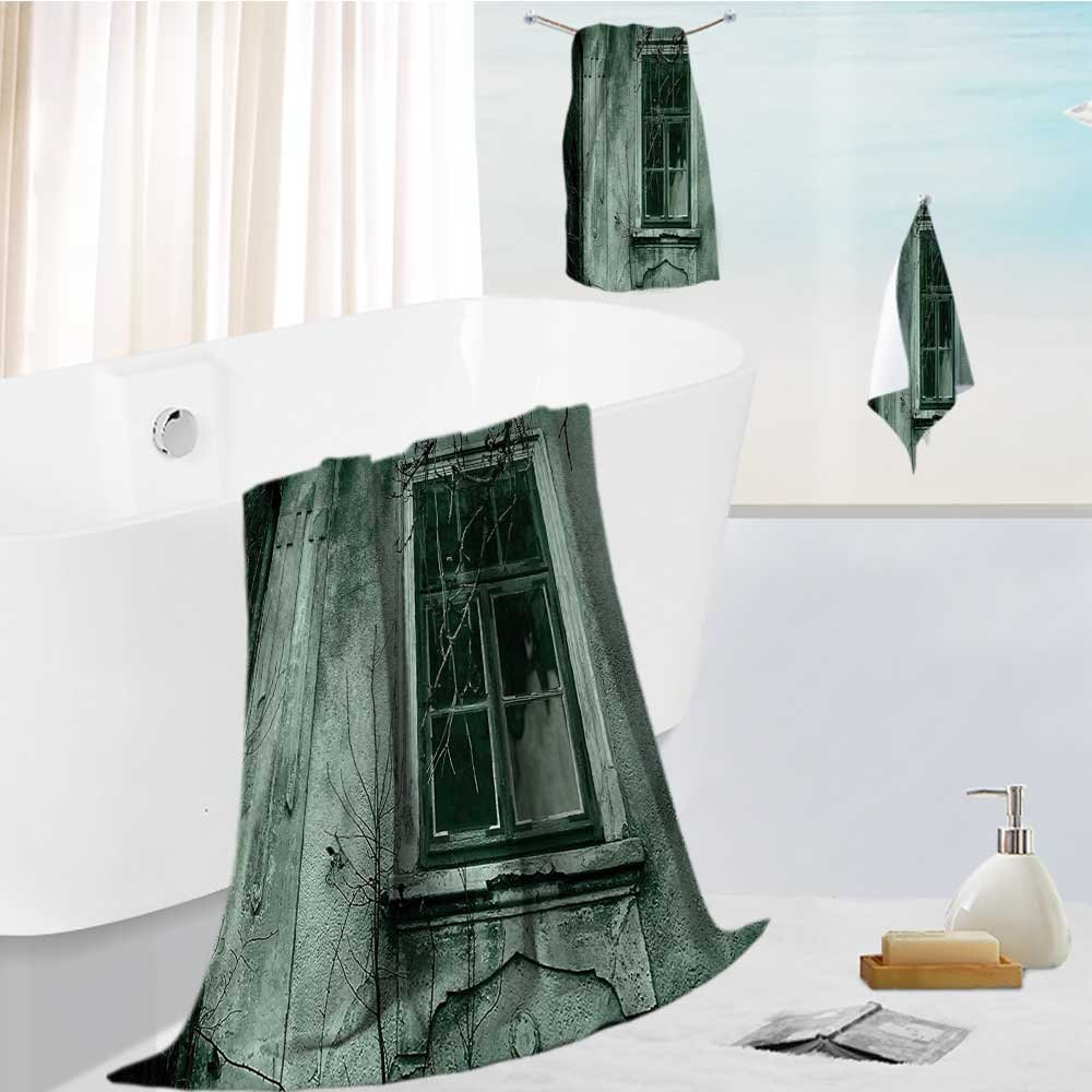 Miki Da Fast Drying Extra Large Bath Towel Set View of a Dramatic Haunted Creepy Mystery Rear Window Theme Gray for Spa & Hotel Quality 19.7''x19.7''-13.8''x27.6''-31.5''x63''