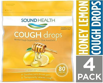 SoundHealth Honey Lemon Cough Drops, Throat Lozenge, Cough Suppressant, 80Count Bag, 4 Pack