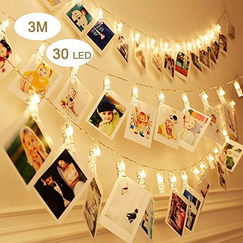LINKIM LED Photo Clips String Lights 10ft Battery Powered with 30 Photo Clips for Hanging Photos Cards and Artwork, Christmas Wedding Party Patio Room Home Decor String Lights,Warm White