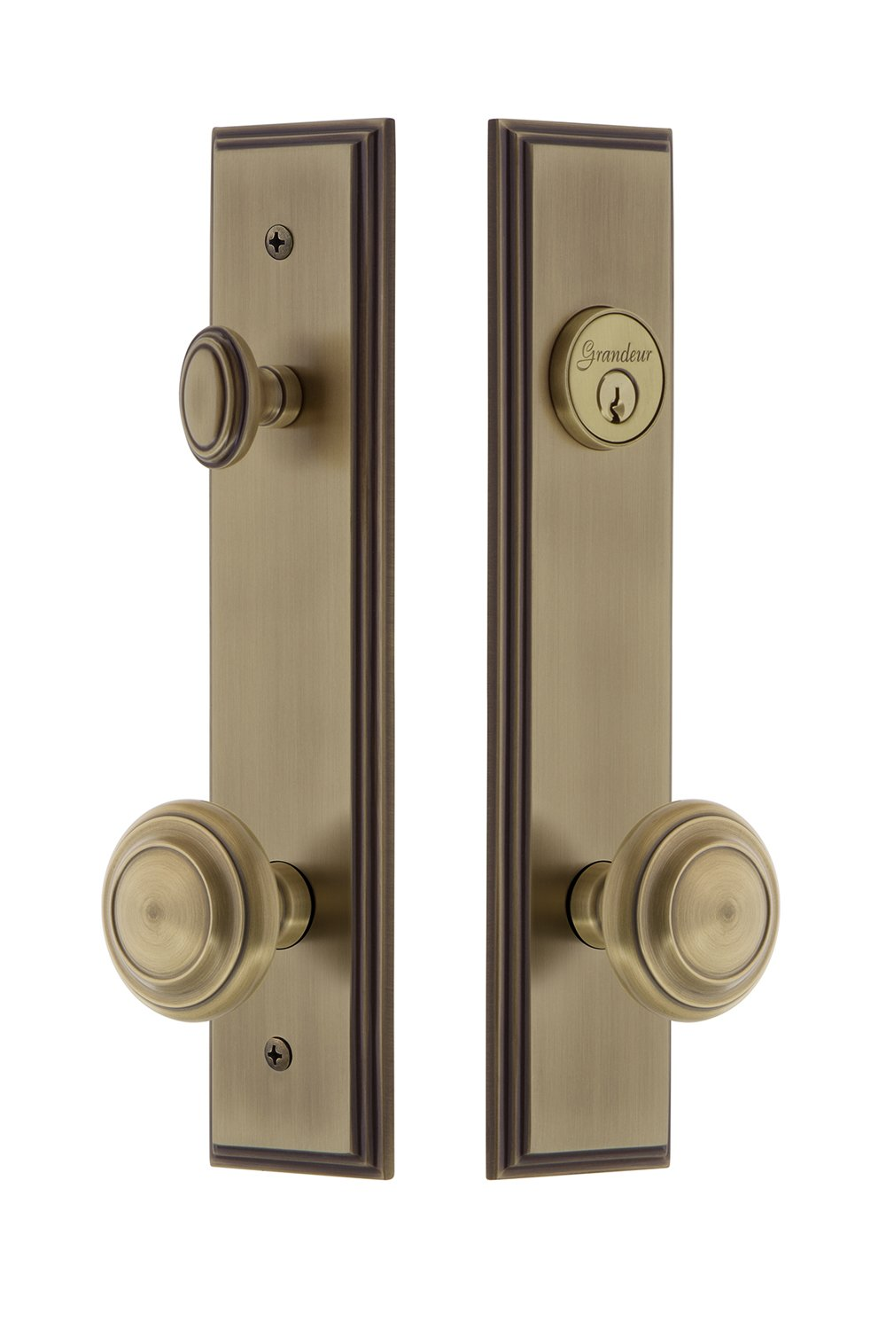 Backset Size 2.375 Grandeur Hardware 840077 Carre Tall Plate Complete Entry Set with Circulaire Knob Antique Pewter