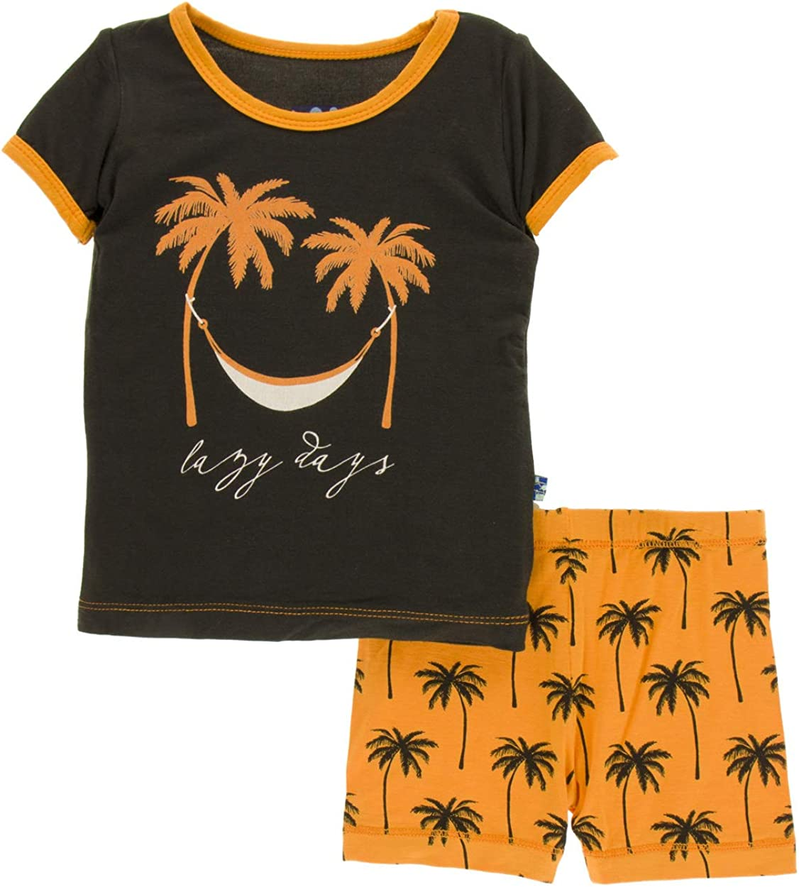 Apricot Palm Trees 4T Kickee Pants Little Boys Print Short Sleeve Pajama Set with Shorts