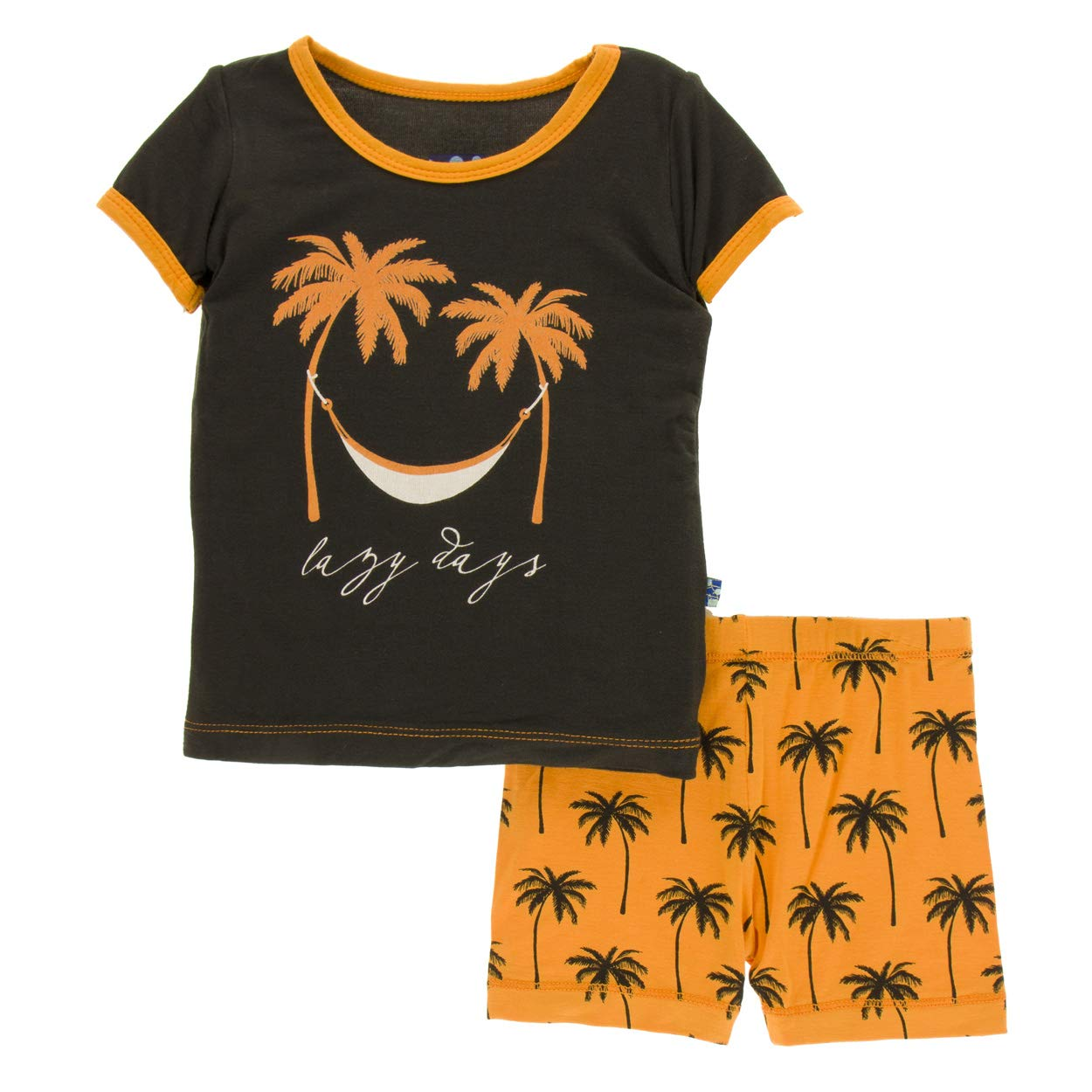 Kickee Pants Little Boys Print Short Sleeve Pajama Set with Shorts Apricot Palm Trees 5 Years