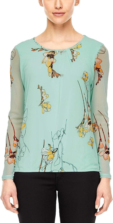 s.Oliver BLACK LABEL Damen Mesh-Shirt mit Elastiksaum