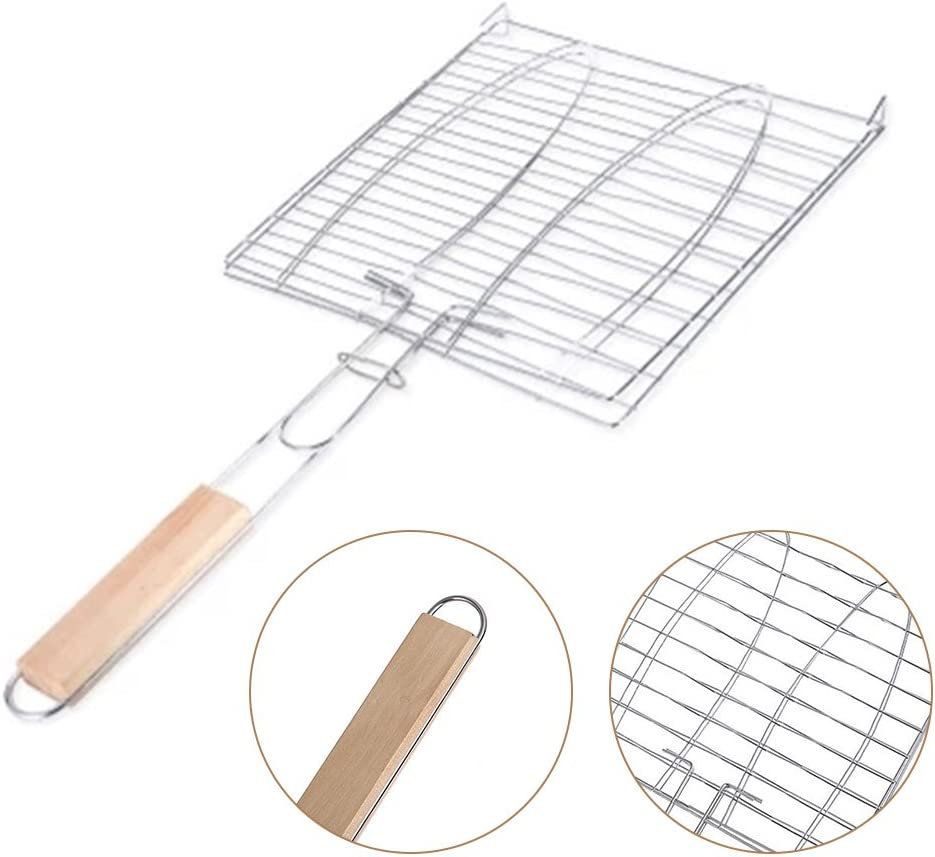 ZREAL BBQ Mesh Grill Rack BBQ Clip Fish Vegetables Wooden Handle Portable Camping
