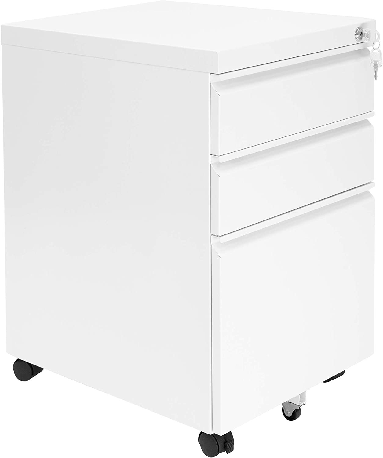 MOUNT-IT! 3 Drawer Cabinet for Under Desk with Wheels | Rolling Storage with Lock for Supplies, Files, and Materials, Mobile Space Saving for Home and Office (White)