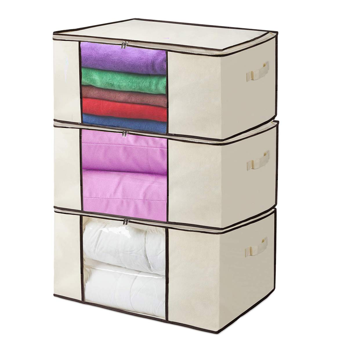 KEEGH Foldable Clothes Storage Bags Organizer Set of 3 Large Oxford Breathable Comforter Blanket Storage Containers with Zippers Perfect for Closet Seasonal Clothing Blanket Pillows by KEEGH