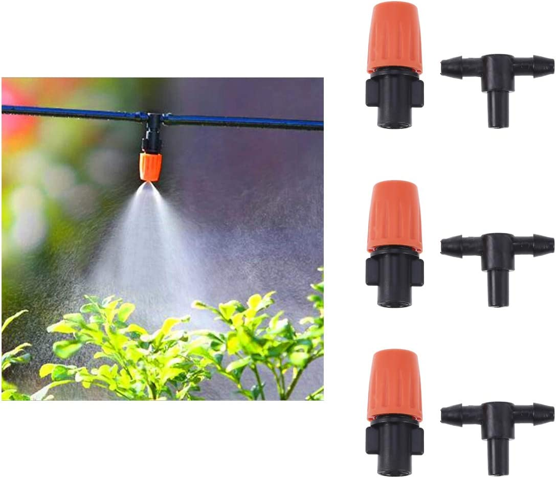 Orange Yardwe New 10PC Adjustable Flow Nozzles Flat Mouth Three-Way Atomizing Nozzle Public Green Space Home Agricultural Production Gardening Horticulture