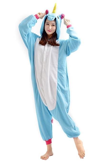 YARBAR Kigurumi Pijamas Unisexo Adulto Traje Disfraz de Halloween Animal Pyjamas azul del unicornio (Small