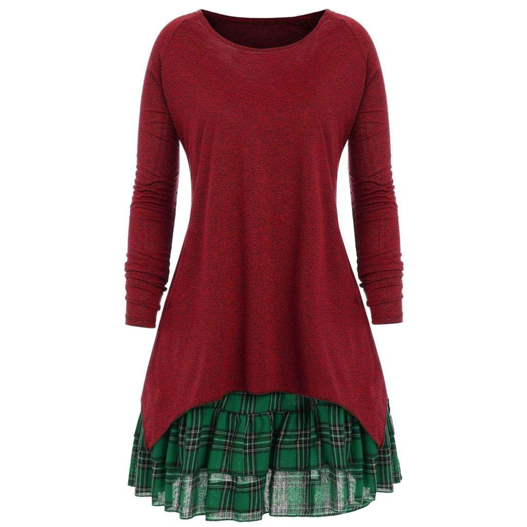 Musheng Clearance !!!Women Long Sleeve Sweatshirt Fashion Pullover Tops Plaid Two Piece Round Neck Plus Size Loose Long Sleeve Patchwork Casual Autumn Dress Blouse