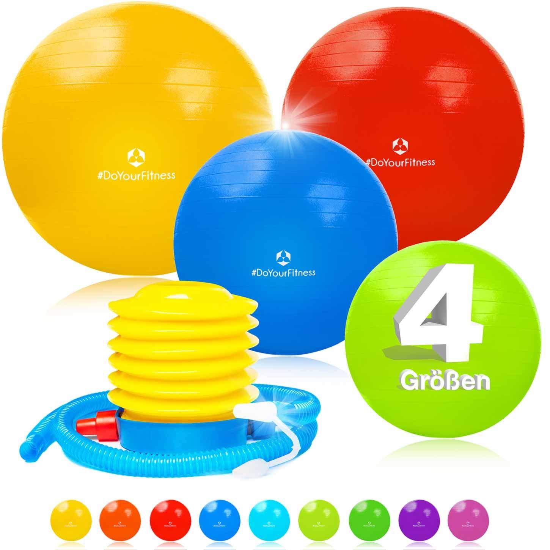 #DoYourFitness Ballon de gymnastique avec Pompe Incluse/Ballon Suisse avec surface antidérapante/idéale pour le yoga, l'équilibre & les Pilates/Dimension 55cm à 85cm/Disponible en 9x couleurs #DoYourSports
