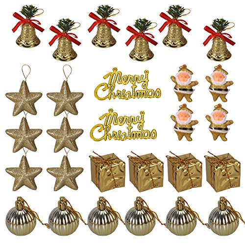 LUOEM 28pcs Christmas Tree Glitter Ornaments Hanging Decoration Pendant with Mini Jingle Bells Stars Gifts Balls Santa Claus - Golden (Claus Jingle Santa Bell)