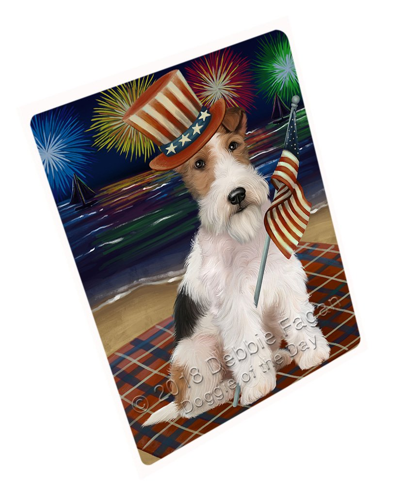 """4th of July Independence Day Firework Wire Hair Terrier Dog Large Refrigerator/Dishwasher Magnet RMAG72984 (18"""" x 24"""")"""