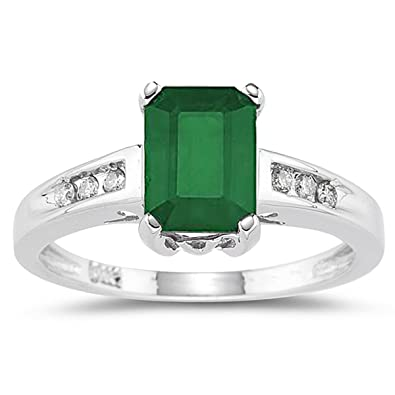 Amazon Emerald and Diamond Ring in 14k White Gold Jewelry