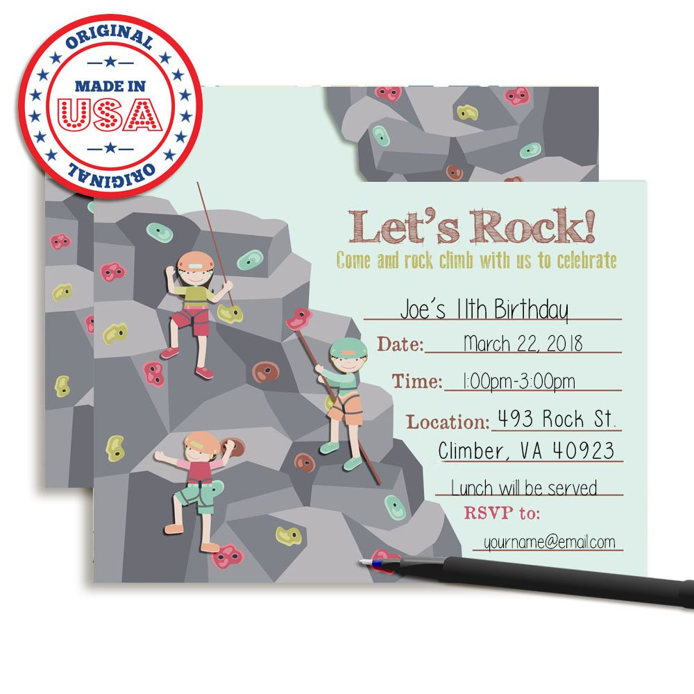 Amazon.com: Rock Climbing Birthday Party Fill in Invitations set of ...