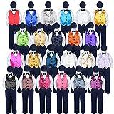 5pc Baby Toddler Boy Classic Suit NAVY Pants Shirt Vest Bow tie hat Set 5-7 (Size: 5, Navy)