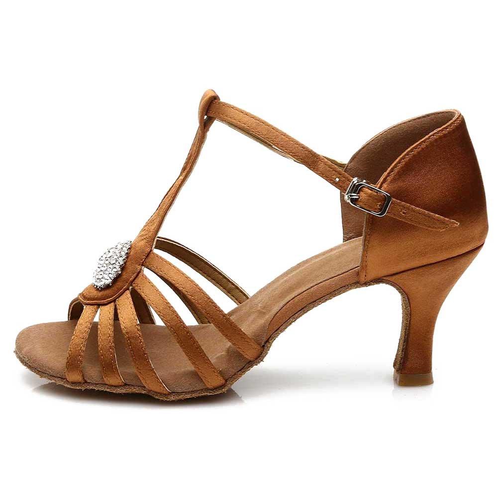 Roymall Women's Satin Latin Dance Shoes Ballroom Tango Performance Shoes Model 226 226-7
