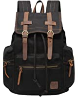 Hynes Eagle Vintage Canvas Leather Backpack Travel Rucksack 19 Liter