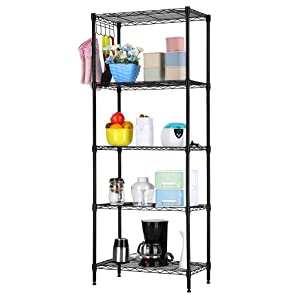 LANGRIA 5 Tier Modern Storage Organization Rack and Shelving Unit 275 lb Capacity, Black