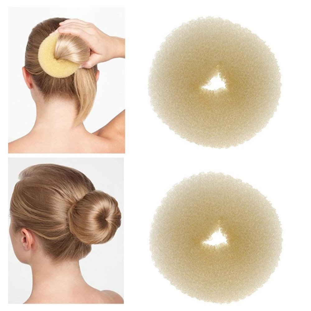 3 Pieces Hair Chignon Donut Bun Maker (1 Large, 1 Medium, 1 Small) (Beige) Hayden Store
