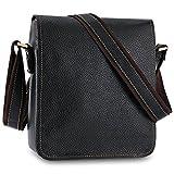 Kattee Leather Flap-Over Sling Business Messenger Bag (Black)