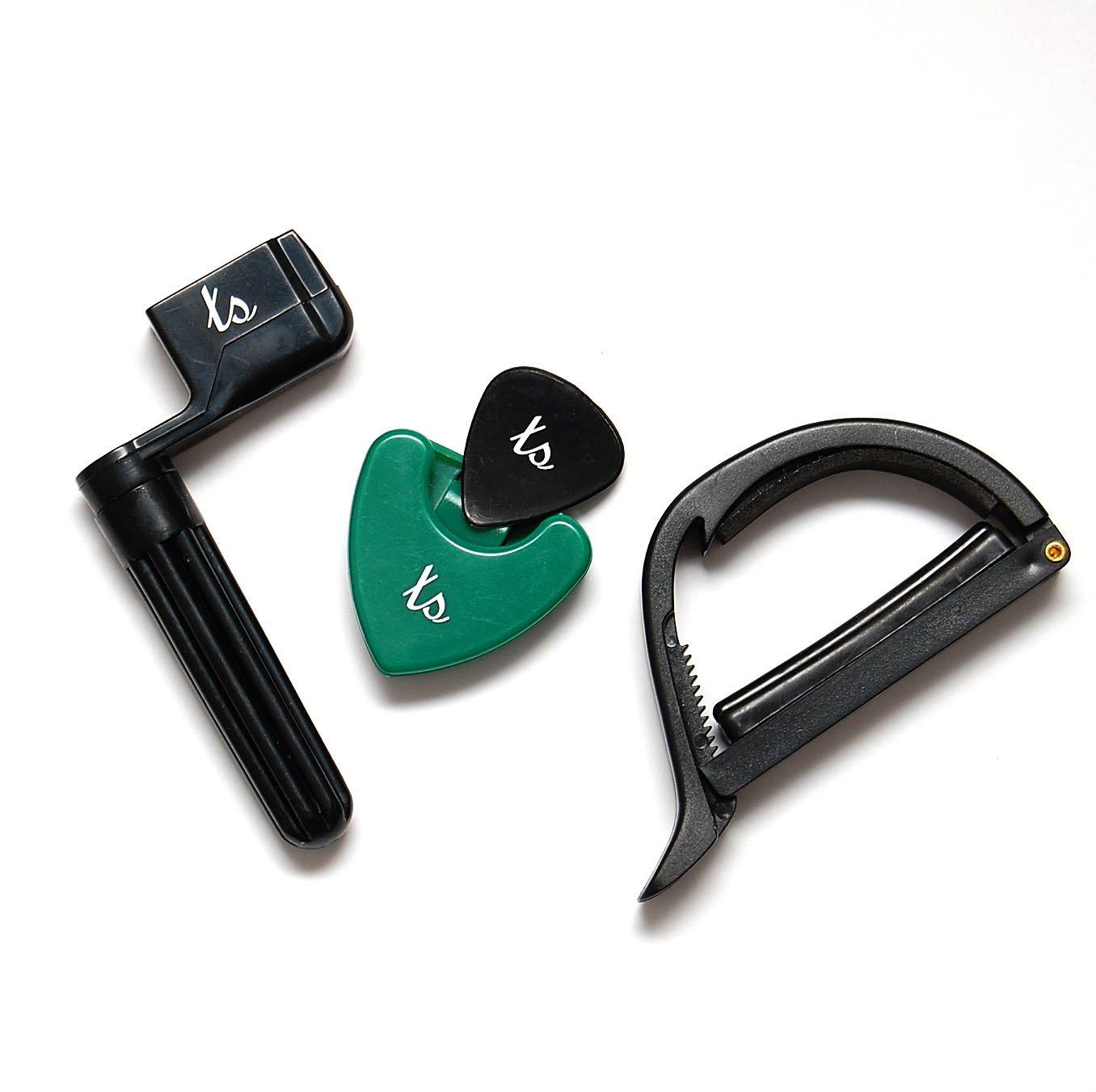 ts-ideen - Set de accesorios para guitarra western (incluye cejilla, estuche de púas y manivela para cuerdas) 4530