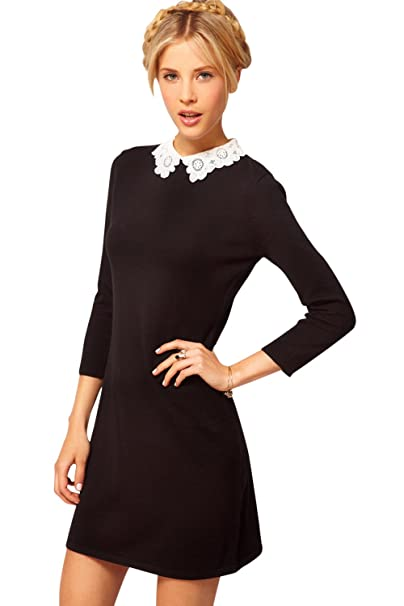 Babyonlinedress Vestido negro y corto estilo de lápiz y casual cuello redondo de solapa blanca manga