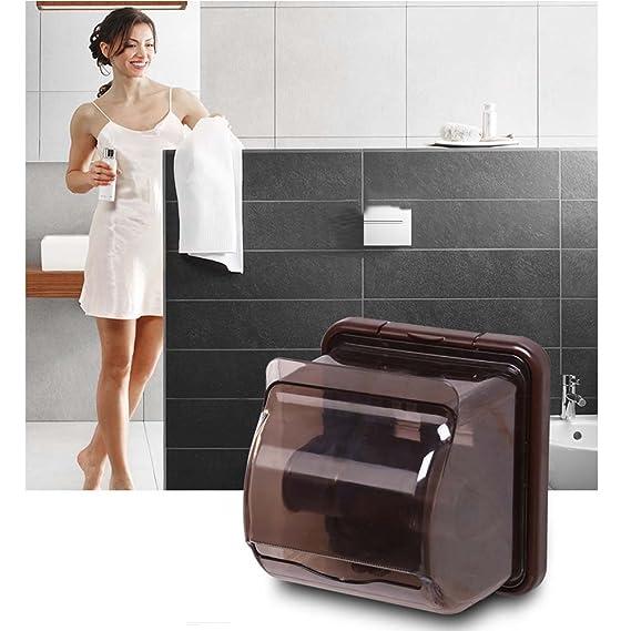 Papel higiénico soporte baño impermeable de plástico percha de rollo de papel soporte para dispensador de pañuelos caja de almacenaje con tapa soporte de ...