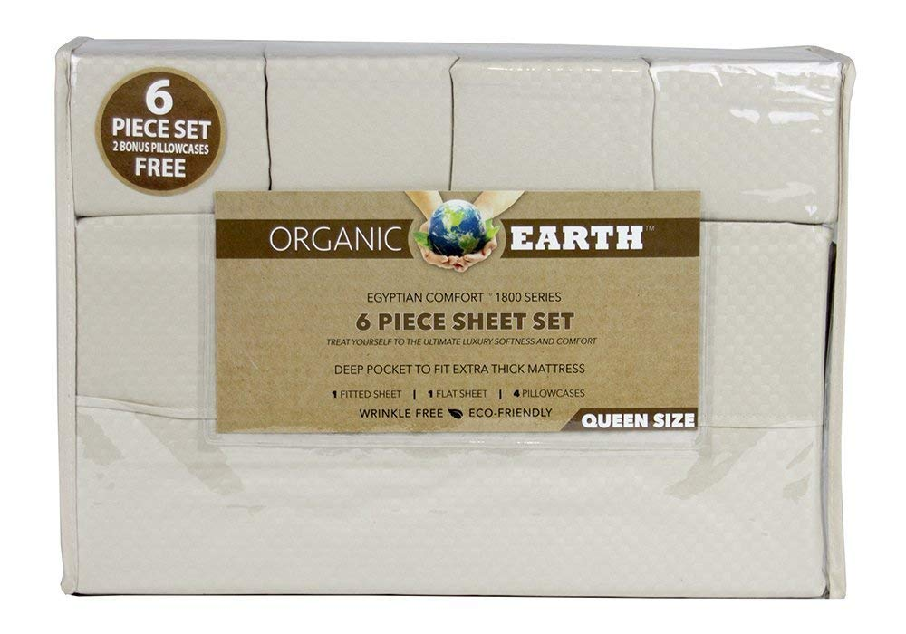 Organic Earth Aloe Vera Bamboo 1800 Series 6-Piece Sheet Set - Deep Pocket to Fit Extra Thick Mattress - Treat Yourself to The Ultimate Luxury Softness and Comfort - Queen (White) Essence