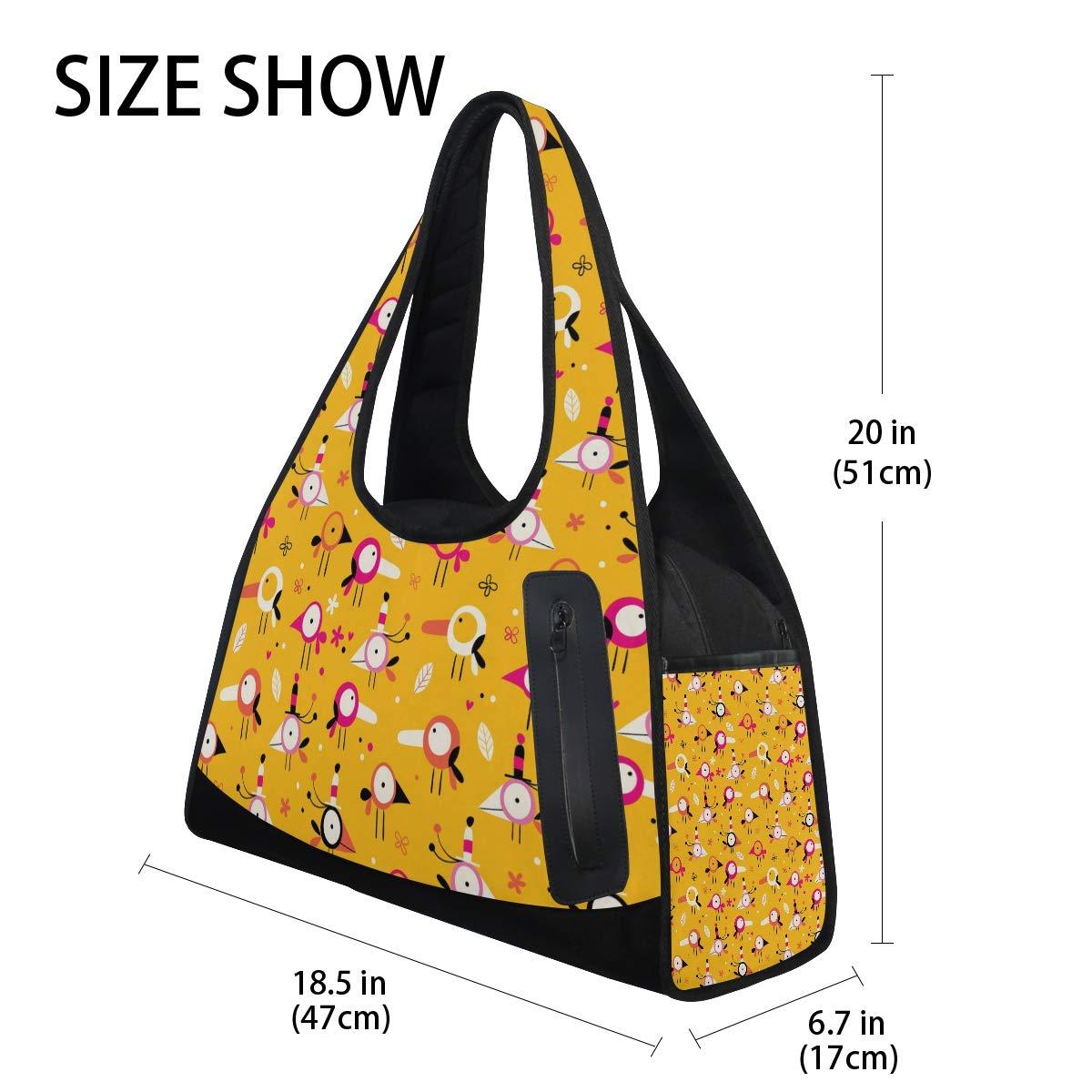 Gym Bag Sports Holdall Cartoon Bird Pattern Canvas Shoulder Bag Overnight Travel Bag for Men and Women