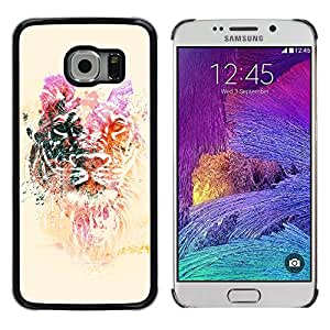 Planetar® ( Lion Yellow Purple Animal Tiger Africa ) Samsung Galaxy S6 EDGE / SM-G925 / SM-G925A / SM-G925T / SM-G925F / SM-G925I Fundas Cover Cubre Hard Case Cover