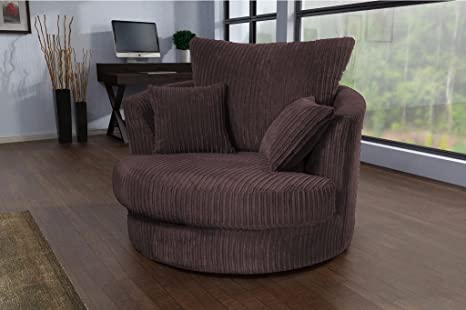 Tremendous Logan Swivel Chair Armchair Jumbo Cord Fabric Chocolate Bralicious Painted Fabric Chair Ideas Braliciousco