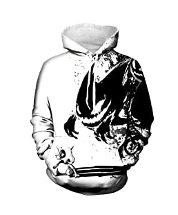 Trackstar Unisex Realistic 3D Galaxy Printed Big Pockets Drawstring Pullover Hoodie Hooded Sweatshirt (Devil, Small/Medium)