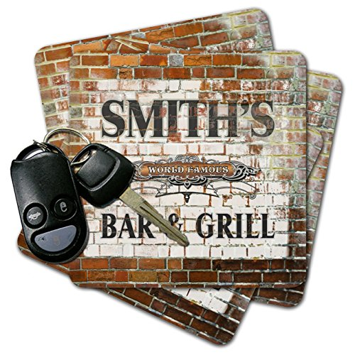 PERSONALIZED CUSTOM Bar & Grill Brick Wall Coasters ()